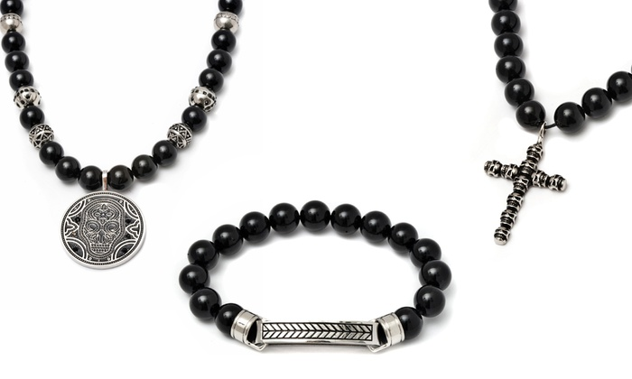 silver beads bali bracelet onyx collections bracelets exodos mens sterling gemstone black copenhagen matte