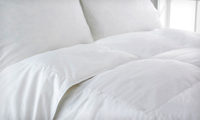 Natural Comfort Goose-Feather and Down Comforter Sets: Natural Comfort Heavy-Filled White Goose-Feather and Down Comforter with or without Pillows (51% Off). Four Options Available. Free Shipping.