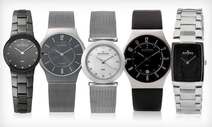 Skagen Watches: Skagen Men's and Women's Watches (Up to 63% Off). Multiple Options Available.