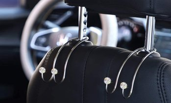 Two, Four or Eight of Diamond-Effect Charm Car Headrest Hooks