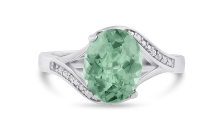 2.81 CTTW Green Amethyst and Diamond Ring in Sterling Silver