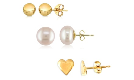 14K Gold Stud Earrings or Earrings Set (3-Pack)