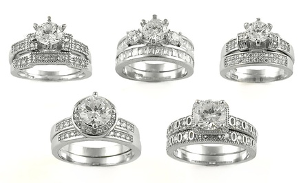 18-Karat White Gold and Cubic Zirconia Wedding Band Sets