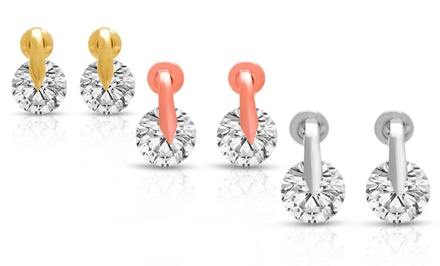 Swarovski Elements 8mm Crystal Stud Earrings in Silver-, Rose-Gold-, or Yellow-Gold-Plating