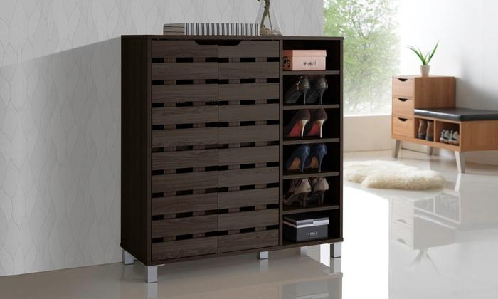 Shirley 2 Door Wood Shoe Cabinet With Open Shelves Groupon