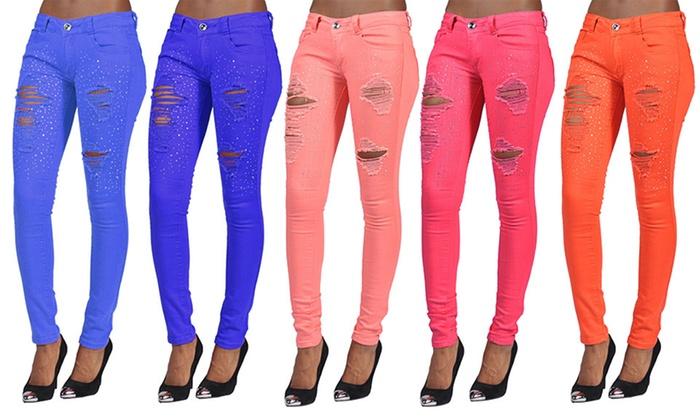 Rhinestone Ripped Skinny Jeans | Groupon Goods