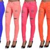 C'est Toi Women's Rhinestone Ripped Color Skinny Jeans