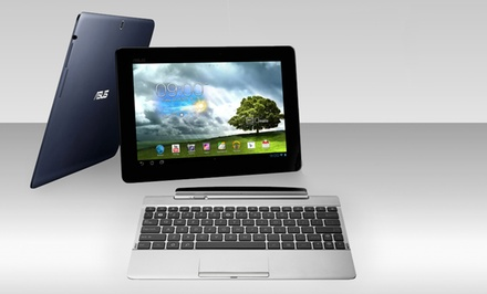 "groupon daily deal - ASUS TF300T 10.1"" 32GB Tablet (Manufacturer Refurbished) with Optional Keyboard Dock; $194.99–$264.99. Free Returns."