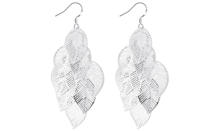 Sterling Silver Plated Leaves Drop Earrings By Jewelry Elements