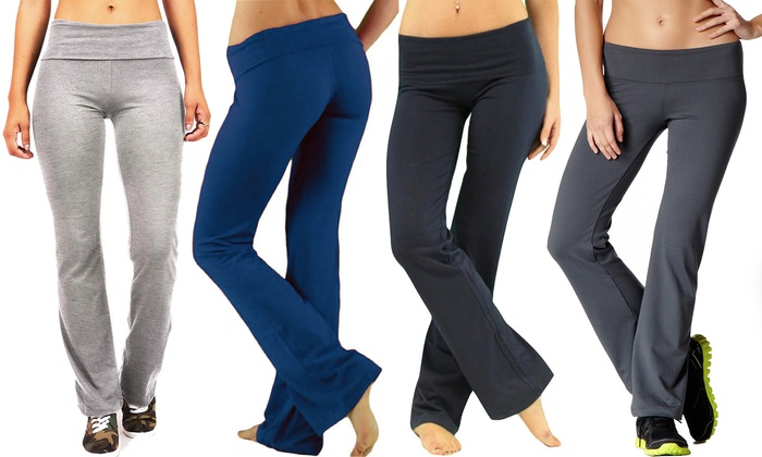 Flared Yoga Pants (2-Pack) | Groupon Goods