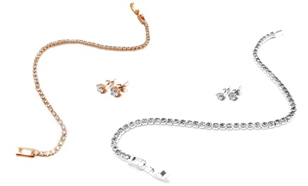 Swarovski Elements Tennis Bracelet and Stud Earring Set