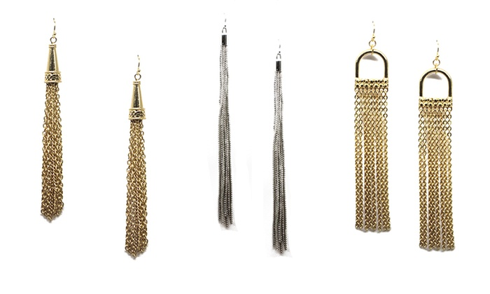 Chain Tassel Earrings: Chain Tassel Earrings. Multiple Styles Available.