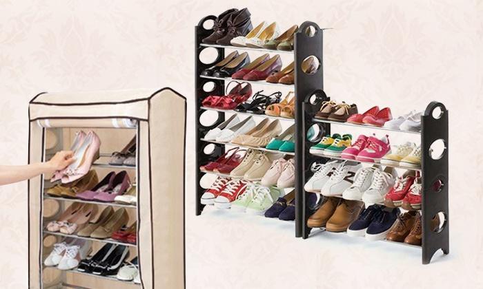 מתקן נעליים בעל 4 שלבים לאחסון של כ-12 זוגות או מתקן בעל 10 שלבים לאחסון של למעלה מ-30 זוגות כולל כיסוי, החל מ-55 ₪