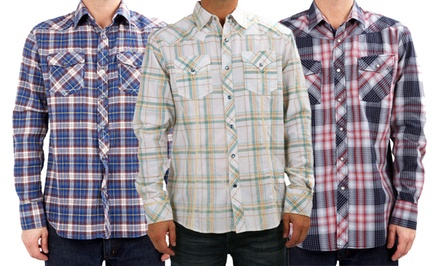 Indigo Star Men's Snap-Front Woven Shirts. Multiple Styles Available. Free Returns.