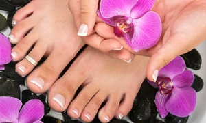 Salon J's: Mani with Hot Stone-Massage Pedi or Pedi with Hot-Stone Massage and Moisturizing Foot Treatment (Up to 42% Off)