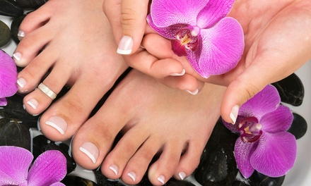 Mani with Hot Stone-Massage Pedi or Pedi with Hot-Stone Massage and Moisturizing Foot Treatment (Up to 50% Off)