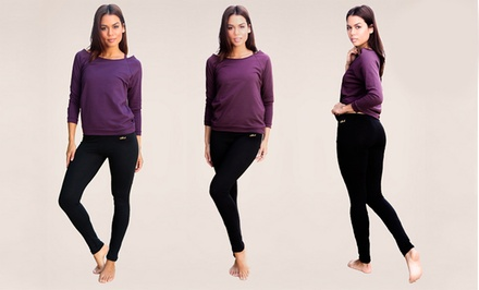 Two Pairs of InTouch Naturally Slimming Organic Cotton Yoga Leggings