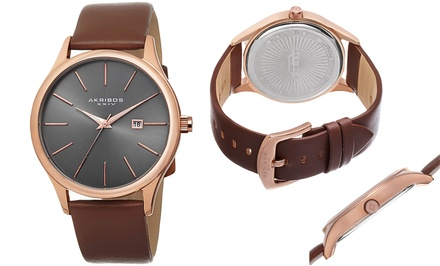 Akribos Men's Watch with Leather Strap and Date Counter