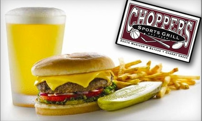 Chopper's Sports Grill - Cherry Creek: $10 for $20 Worth of Gourmet Pub Fare and Drinks at Chopper's Sports Grill in Cherry Creek