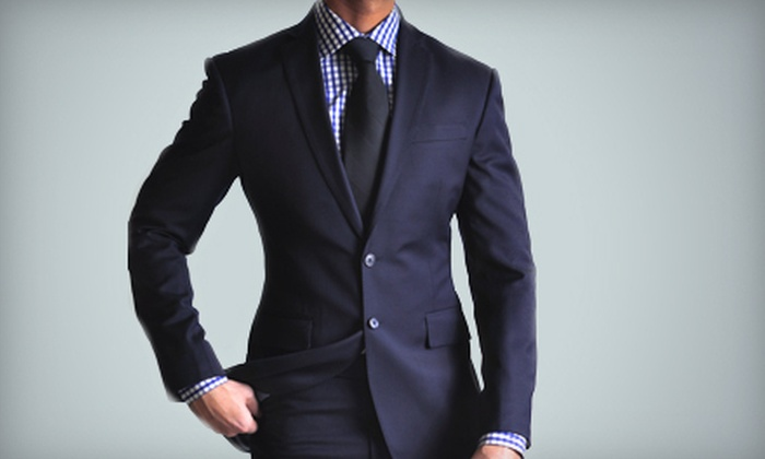 Empire Customs - Fairview: One or Two Custom Men's Suit Packages with Cashmere Wool Suit, Dress Shirt, and Tie at Empire Customs (Up to 59% Off)