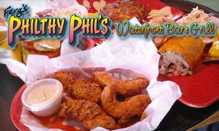 Philthy Phil's Waterfront Bar & Grill - Corey Ave: $10 for $20 Worth of American Fare at Philthy Phil's Waterfront Bar & Grill