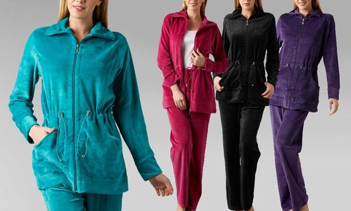 Kaktus Women's Velour Pant and Jacket: Kaktus Women's Velour Pant and Jacket. Multiple Colors Available. Free Returns.
