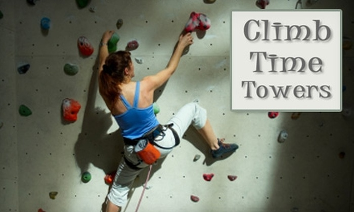 Climb Time Towers - Clay: $20 for Three All-Day Climbs, Shoes, Harness, and Chalk Bag at Climb Time Towers ($57 Value)