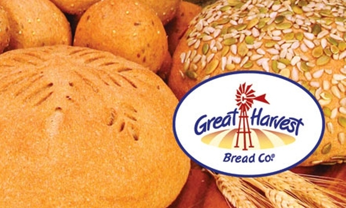 Great Harvest Bread Co. - Multiple Locations: $5 for $10 Worth of Freshly Baked Bread and Baked Goods at Great Harvest Bread Co. Choose from Six Locations.