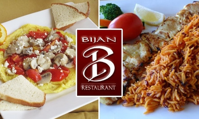 Bijan Restaurant - Downtown Walnut Creek: $20 for $40 Worth of Authentic Mediterranean and Middle Eastern Fare at Bijan Restaurant