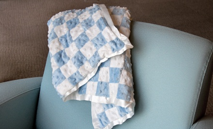 Dimpled 100% Velour Baby Blanket: Blue and White (a $36 value) - Velour Baby Blanket in