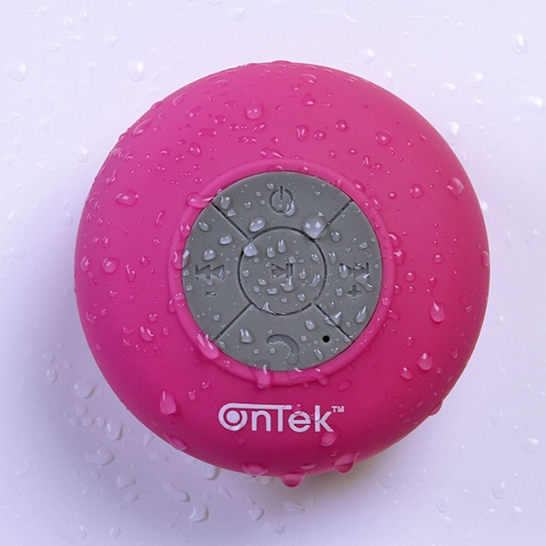 OnTek Water-Resistant Bluetooth Shower Speaker with Mic and Controls