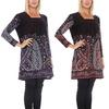Women's Paisley-Flower Sweater Dress