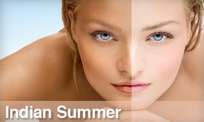 Indian Summer  - Merriam Valley: $39 for Three Full-Body Spray and UV Tanning Cocktails at Indian Summer ($105 Value)