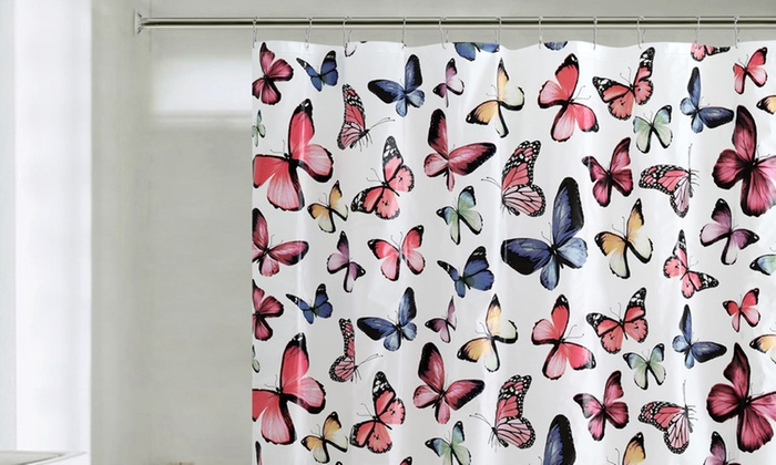 Butterfly PEVA Shower Curtain with 12 Roller Ball Hooks | Groupon