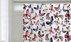 Butterfly PEVA Shower Curtain with 12 Roller Ball Hooks