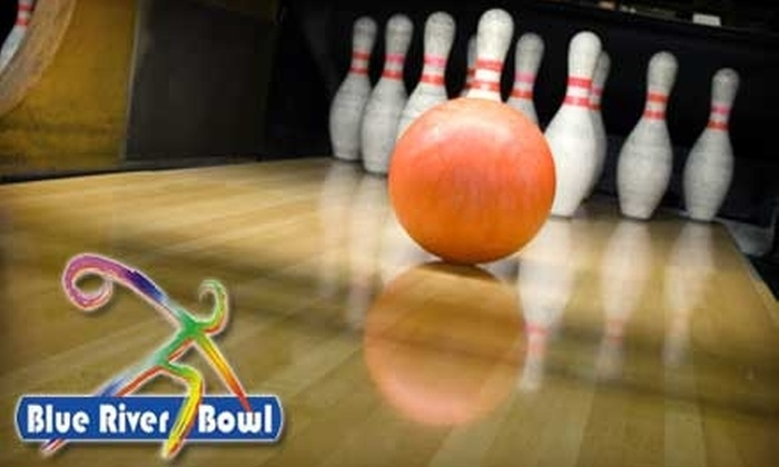 Blue River Bowl - Shelbyville: Bowling, Shoe Rental, Pizza, and Soda for Four People at Blue River Bowl in Shelbyville. Choose From Two Options.