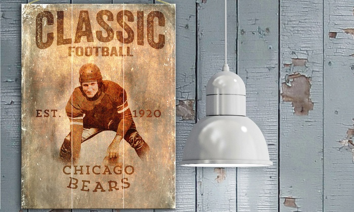 "Chicago Bears 12""x16"" Classic Football Plank Sign: Chicago Bears 12""x16"" Classic Football Plank Sign"
