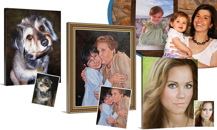 """PaintYourLife.com: 16""""X20"""" Rolled Oil Portrait of One or Two People or Pets from PaintYourLife.com (Up to 57% Off)"""
