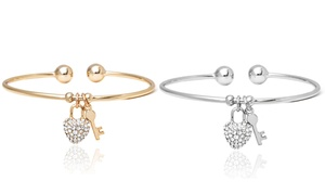 18k Gold Or White Gold Plated Charm Bangle With Swarovski Crystal Elements
