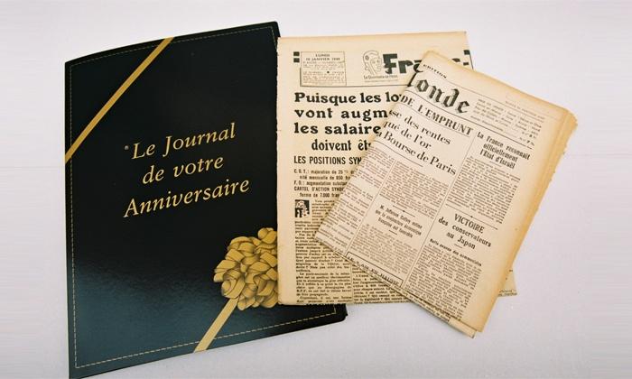 Jadis'Press: Bon d'achat de 22, 25, 30 ou 35 € sur le journal du jour de sa naissance avec Jadis'Press dès 11 €