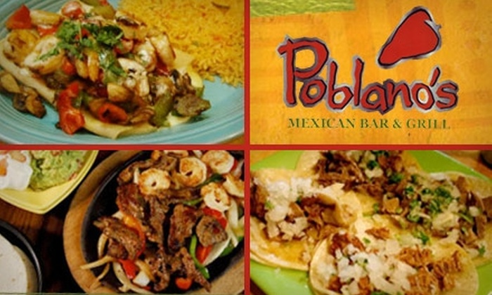 Poblano's Mexican Bar & Grill - Greensboro: $7 for $14 Worth of Fresh Mexican Fare at Poblano's Mexican Bar & Grill. Choose One of Two Locations.