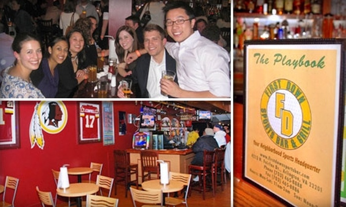 First Down Sports Bar & Grill - Ballston - Virginia Square: $10 for $20 Worth of Bar Fare at First Down Sports Bar & Grill