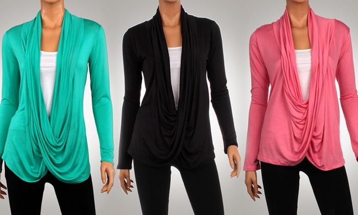 Women's Crisscross Draped Cardigan: Women's Crisscross Draped Cardigan. Multiple Colors Available. Free Returns.