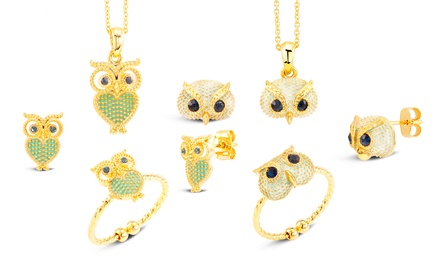 Owl Jewelry Set with 18-Karat Gold Plating