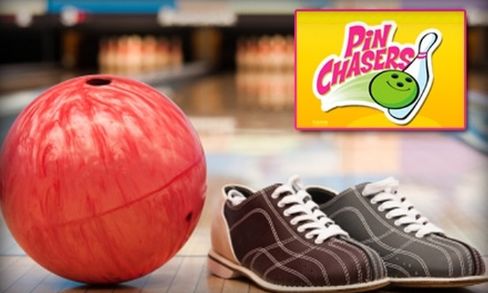 Pin Chasers - Multiple Locations: $20 Worth of Bowling, Food, and Arcade Games at Pin Chasers