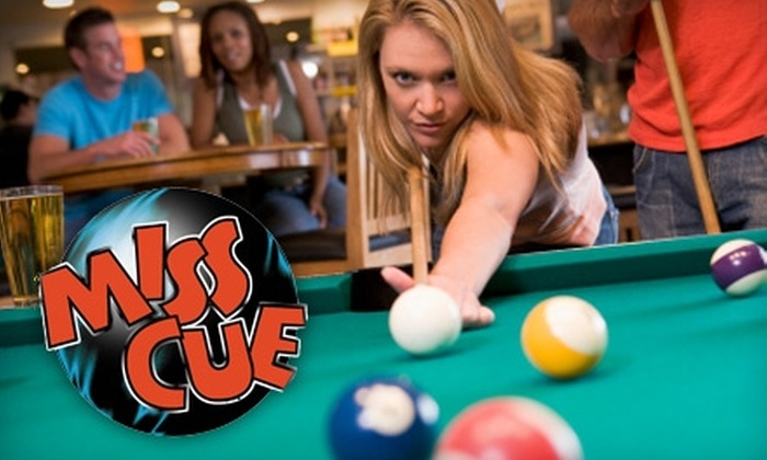 Miss Cue Sports Café - Southwyck: $5 for One Hour of Pool and $15 Worth of Food and Drinks at Miss Cue Sports Café (Up to $25 Value)