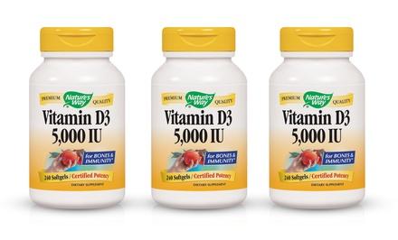 Nature's Way Vitamin D3 5,000 IU; 3-Pack of 240-Softgel Bottles + 5% Back in Groupon Bucks