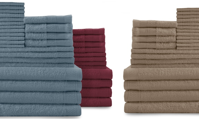 24-Piece 100% Cotton Towel Set: 24-Piece 100% Cotton Towel Set