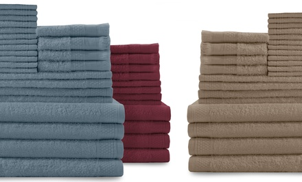 24-Piece 100% Cotton Towel Set
