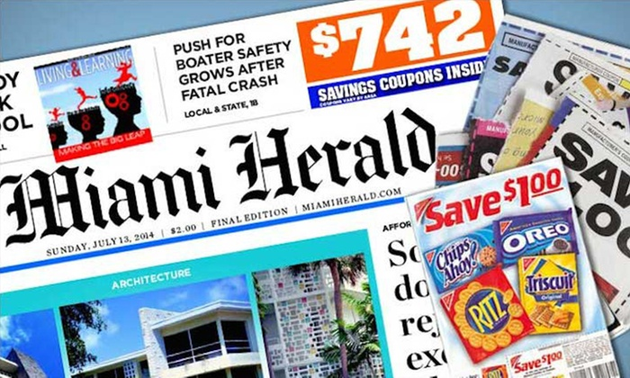 "Miami Herald: $9 for 6-Month Sunday Home Delivery to the ""Miami Herald"" ($40.07 Value)"